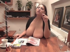 Chubby girl smokes with her big natural tits out
