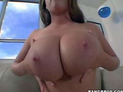 Brown haired exposed lady Emily George show off her gigantic natural meatballs on the couch before she gets her mouth filled with stiff cock. Watch big breasted cock sucker give pleasure