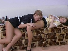 Crestfallen French maids tongue-polishing pantyhose clad wet cracks during the break