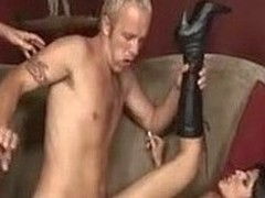 Lengthy haired chick screwing two elated dudes in hardcore three-some