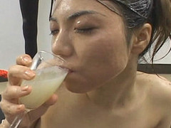 Erika Ando acquires cum all over her face with an increment of body  collects cum in a glass with an increment of drinks it after.