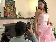 Stunning bride in white nylons getting banged in advance of wedding ceremony