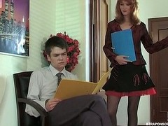 Red hot gal seducing her co-worker into amok strap-on fucking more office