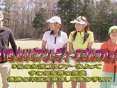 Cute Oriental legal age teenager cuties play a game of disrobe golf
