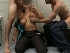Porn star flaxen-haired Bridgette B enjoys sexy blow occupation with indiscretion in threesome group