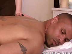 Small tits tranny with sexy ass getting barebacked at massage